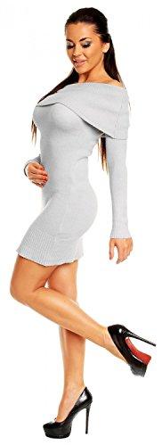 Zeta Ville - Damen Strick-kleid mit schulterfreiem Bardot-Ausschnitt - 909z Grau