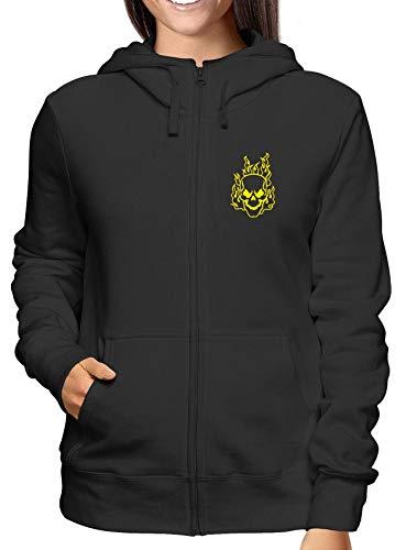 T-Shirtshock Sweatshirt Damen Hoodie Zip Schwarz FUN0419 Flaming Skull Flaming Skull Sweatshirt