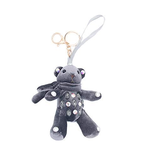 Schmuck glänzende Mode Kreatives Keychain, Multifunktionsbär-Haarkugel Schlüsselanhänger für Damen Tasche Handy oder Auto Anhänger Halskette Anhänger für Frauen Mädchen ( Farbe : Grau )