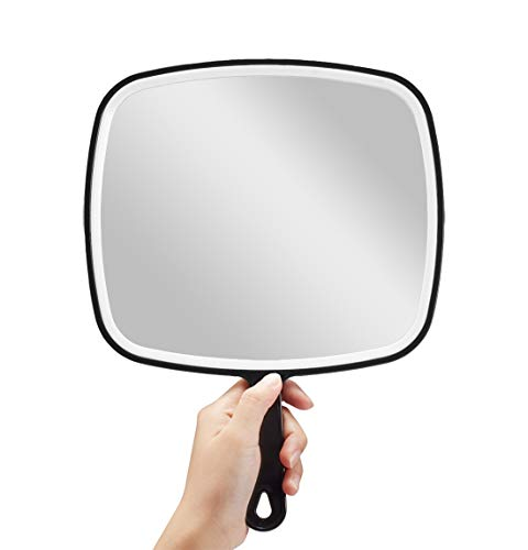 Espejo de mano, extragrande, color negro, con mango, cuadrado, XL