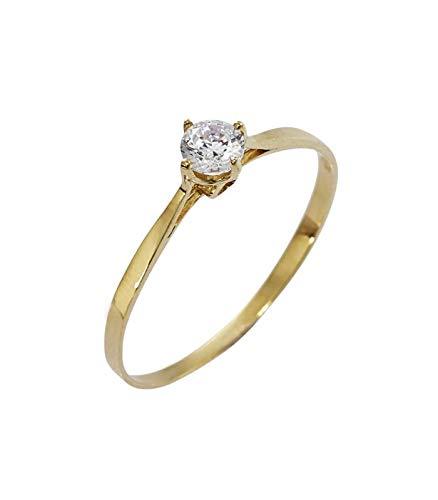 Gioielli di valenza anello solitario in oro giallo 18kt con zircone - 9