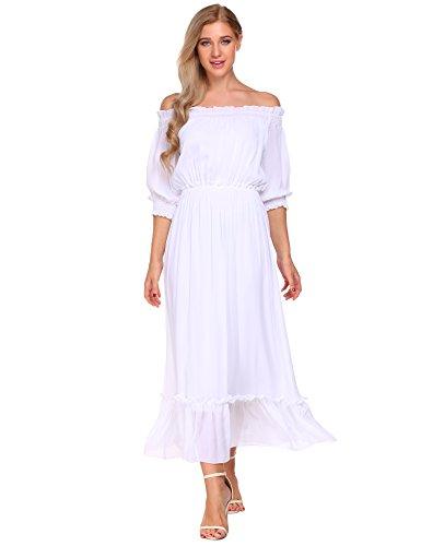 Meaneor Damen Chiffon Kleid Elegant Festlich Abendkleid Kurzarm Schulterfrei Maxikleid Partykleid Cocktailkleid