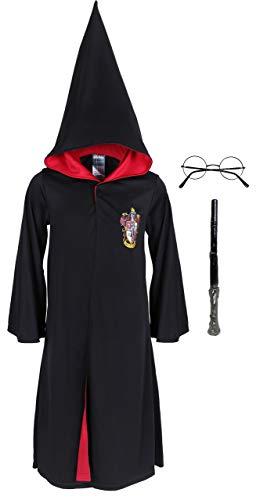 Harry Potter Kostüm Set Umhang Mantel Fasching + Zauberstab + Brille 3-4 Jahre 104 cm