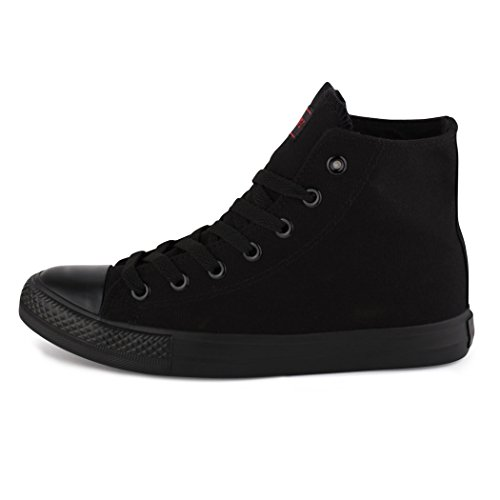 best-boots, Sneaker uomo Nero (Black - High Top ALLBlack)