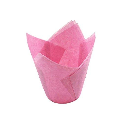 (GardenHelper Tulpenförmchen für Cupcakes, Muffins, für Hochzeiten, Geburtstage, Babypartys, 100 Stück rose)