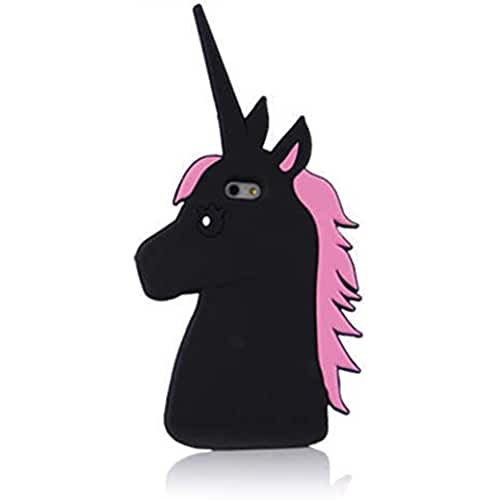 unicornios kawaii eHenZ® TM carcasa diseño unicornio 3D, funda carcasa para iPad 2,3,4;  iPhone 7,7 +, 6,6 +, 5... negro Pony iPhone 5