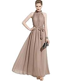 ERGEOB Damen Sommer Kleid Elegante Cocktail Party Floral Kleider Maxi  ärmellosen Chiffon Abendkleid Strandkleid f37b97cd9f