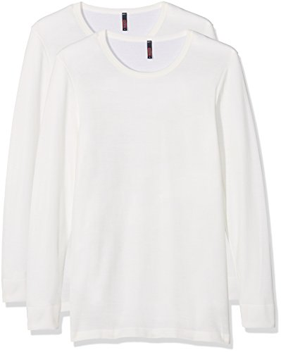 Dodo Homewear Herren Thermounterwäsche-Oberteil, 2er Pack Weiß (Weiß)
