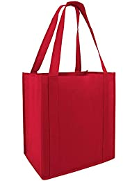 (Set Of 25) Heavy Duty Grocery Shopping Tote Bag W/Strong Reinforced Handles (RED)