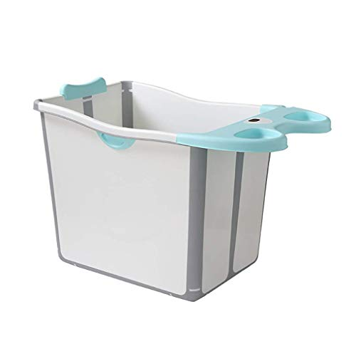 LXYFC Bathtub FoldedFolding, Kinder Thick Bad, Außen Reisen Plastikwannen, 2-Color, 51 * 83 * 57,8 cm, (Farbe: Blau) Blau