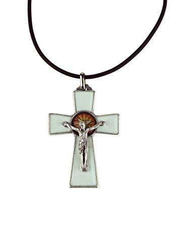 Eurofusioni Weißes Kreuz des Heiligen Geistes - h 4,9 cm - Versilbertes Metall