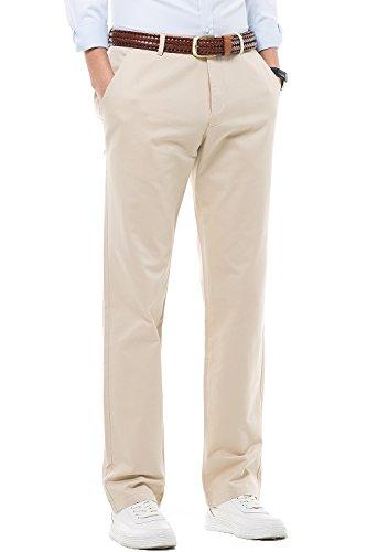 Lange Leichte 100% Baumwolle (HARRMS Herren 100% Baumwolle Hose, Regular Fit, Straight Leg, Lange Business Hose Casual Stoffhose Freizeithose,Khaki,34)