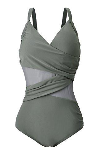 Azue Monokini Damen Bauchweg Schlankheits Badeanzug Große Größe für Mollige Frauen Badebekleidung Schwimmanzug B