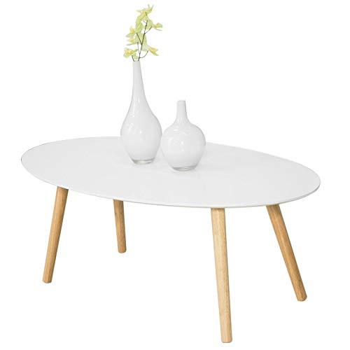 SoBuy® FBT61-W Couchtisch mit Holzbeinen Wohnzimmertisch Sofatisch Salontisch in weiß, BHT ca: 105x40x60cm