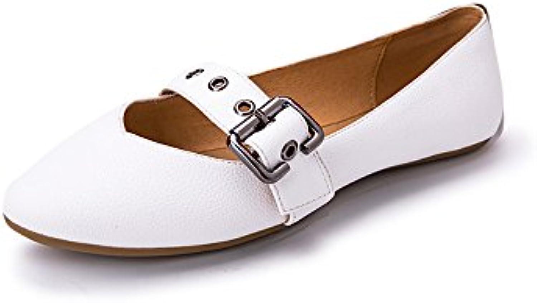 TGKHUS Zapatos De Cuero Boca Baja Zapatos Hebilla Hueca Sandalias Yemas De Los Dedos Gruesas con Las Mujeres 39 EU|Rojo