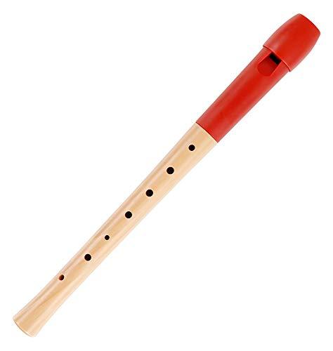 Classic Cantabile Pivella C-Sopran Blockflöte - Aus Ahornholz mit Kopf aus Kunststoff, dadurch ideal für Einsteiger - Deutsche Griffweise - Inkl. Etui, Grifftabelle, Wischerstab und Korkfett - Rot
