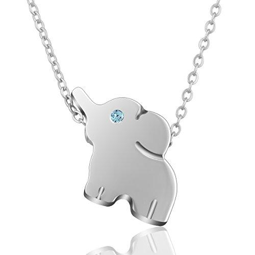 AEONSLOVE Elefante Afortunado Colgante Collar de Acero Inoxidable Lindo Animal Joyería para...