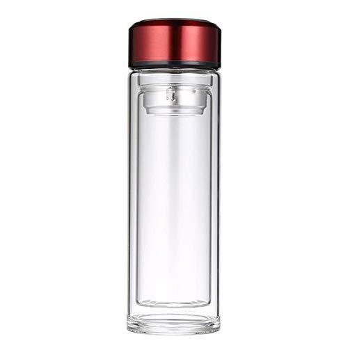 SHZJM Büro-Mode-Wasser-Cup-Doppelschicht-Geschäfts-Werbungs-Geschenk-Cup Der Hohen Borosilicat-Glasmänner Rotes 320Ml Reisebecher