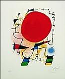quadri & cornici HB - Mirò ' Il sole rosso ' quadro,stampa su legno, poster su legno, bordo nero