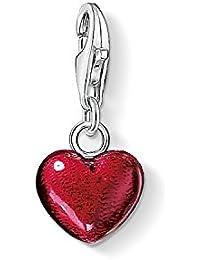 Thomas Sabo Femme Pendentif Charm cœur Rouge Charm Coeur Argent Sterling 925, émaillé Rouge 0794-007-10