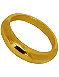 Menjewell Elegant Classic & Designer New Collection Gold Plated Flat Pipe Cut Plain Design Ring