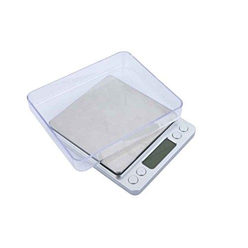 Preisvergleich Produktbild Busirde WH-I2000 300g / 500g x 0.01g 2000g x 0.1g Digital Platform Schmuck Skalen Hohe Genauigkeit elektronische Küchenwaage mit 2-Fach Silber 500g / 0.01g
