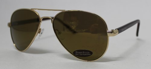 Perry Ellis Sonnenbrille Gold, Metall Aviator, Brown Flash Mirror Lens PE8-1
