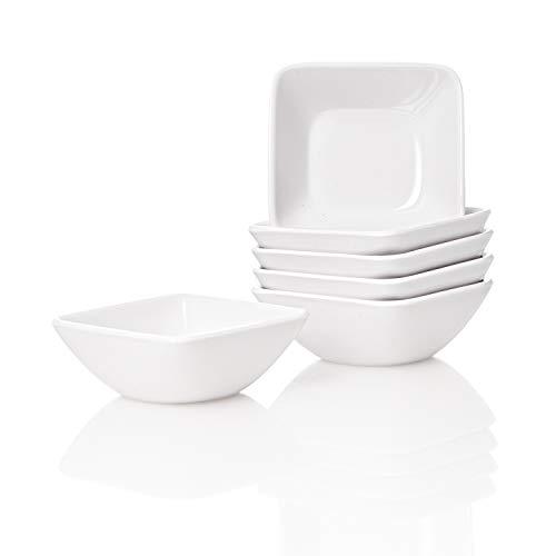 Kerafactum® - 6 Set Dipschale Dippschälchen Puddingform rechteckige Snackschale Schälchen Dessert Schale Form dippen Schüssel zum servieren Melamin Spülmaschinenfest - dip Bowl