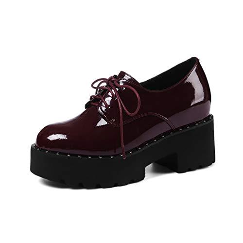 Frauen Flache Plattform Keile Schuhe Frühling Herbst Sweet Patent Lace Up Höhe Zunehmende Datum Freizeitschuh