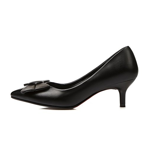 AgooLar Femme Pu Cuir à Talon Correct Pointu Couleur Unie Tire Chaussures Légeres Noir