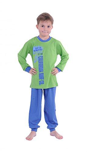 Cooler Jungen Pyjama langam mit Bündchen 58411, Farbe:grün;Größe:152 (Cooler Pyjama)