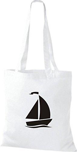 JUTA Borsa di stoffa barca a vela, Jolle ,SKIPPER,CAPITANO Bianco