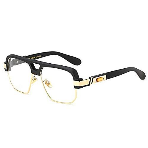 YMTP Matt Schwarz Quadrat Großen Rahmen Klar Gläser Halb Randlos Frauen Männer Optische Rahmen Brillen Transparent, Mattschwarz