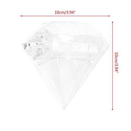 -Box, transparent, Diamantenform, Kunststoff, für Hochzeit, Party, Zuhause, Plastik, durchsichtig, 10cmx10cm ()