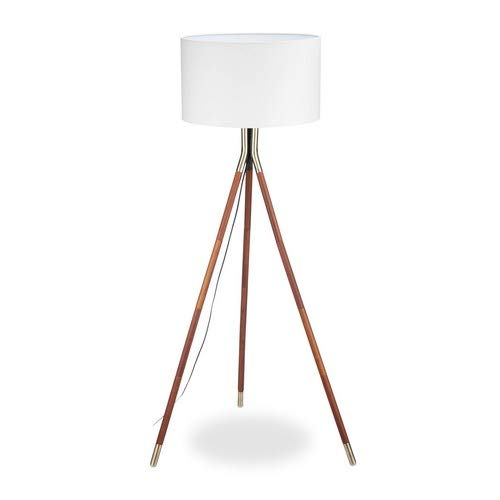Relaxdays Stehleuchte Wohnzimmer, 3 Holzbeine, Gestell mit Messing-Finish, Stoffschirm 48 cm Ø, 150 cm hoch, weiß/braun, Standard -