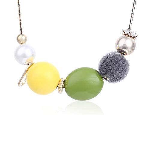 XZZZBXL Damenhalskette,Frauen Halskette Erklärung Halsketten & Anhänger Fuzzy Kugeln Halskette Für Frauen Schmuck Kurze Halskette