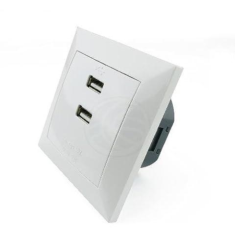 Cablematic - Base de enchufe 2 x USB A hembra 80x80mm para empotrar