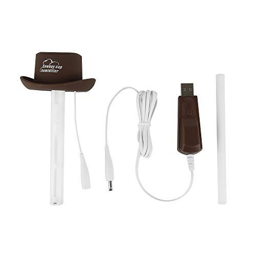 SQUAREDO Cowboy Cap USB Mini humidificador de Aire portátil, Mini humidificador de Niebla Fresca Aromatherapy para el Dormitorio Oficina en casa Viaje en Coche (Brown)