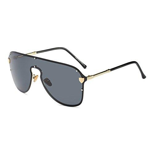 Burenqi@@ Übergroße Sonnenbrille Frauen Männer Schild Luxus Marke Big Frame Sonnenbrille Schwarz Grau Niet Eyewear, D