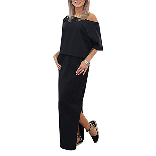 Sommerkleider Damen Trägerlos Kurzärmlig Abiballkleid Cocktailkleid Freizeitkleider Maxikleid Beiläufige Minikleid Shirtkleider Schwarz