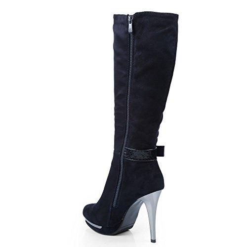 Ideal Shoes–Stivali effetto camoscio con cinturone verniciato effetto rettile donna Blu