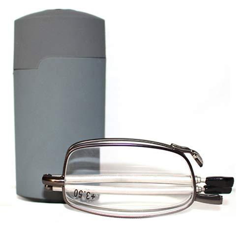 Tragbare 1 Paar kompakte zusammenklappbare Lesebrille mit Mini Flip Top Tragetasche für Mode für Männer und Frauen Rotations-Brille + 1,0 / + 1,5 / + 2,0 / + 2,5 / + 3,0 / + 3,5 / + 4,0,Gray,+1.00