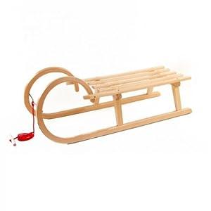 Pinolino Hörnerschlitten Schlitten aus Holz mit Zugseil