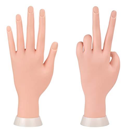 Mano finta con unghie per praticare la manicure flessibile mobile morbida plastica per esercitazioni di nail art
