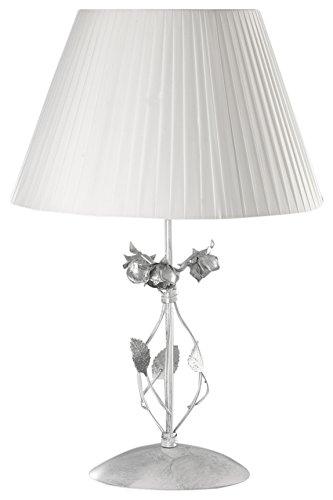 Onli rose lampada da tavolo e27, bianco / argento, lume grande