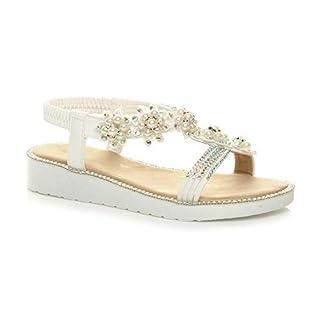 Ajvani , Damen Sandalen 37 EU, Weiß - White Pearl - Größe: 39 EU
