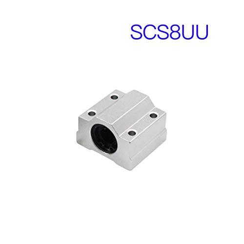 WOSOSYEYO SCS8LUU Linear Motion-Kugellager-Block Gleitbuchsenanordnung CNC-Fräser für 3D-Drucker Wellen Rod Druckmaschinenteile (Silber) -