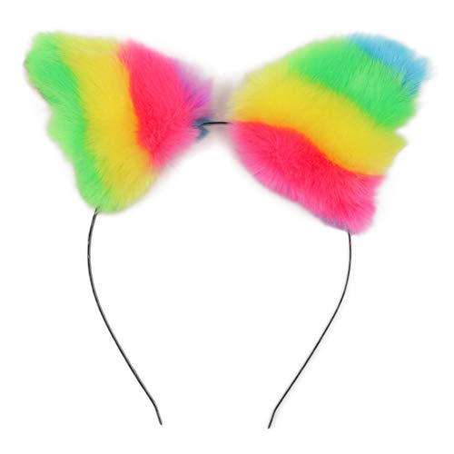 Lurrose regenbogen fuchs ohr stirnband kunstpelz plüsch ohr haarband bunte mode haarband für halloween kostüm party cosplay (Regenbogen Kitty Kostüm)