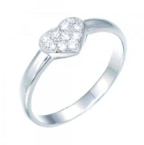 925 Sterling Silver CZ Kids Girls Micro Set Heart Ring 6KR19