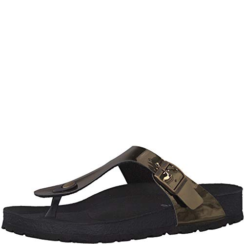 Tamaris 1-1-27532-22 Damen FlipflopsLeder,Sandale,hochwertig,bequem,leicht,Sommer,Strand Schuhe,Mirror Bronce,39 EU
